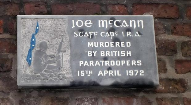 A memorial plaque in the Markets area of Belfast