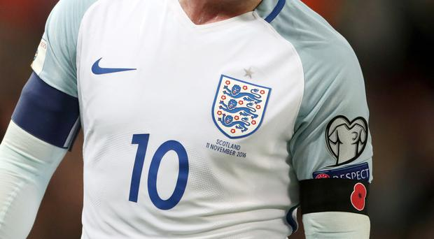 A poppy armband worn by England's Wayne Rooney at Wembley