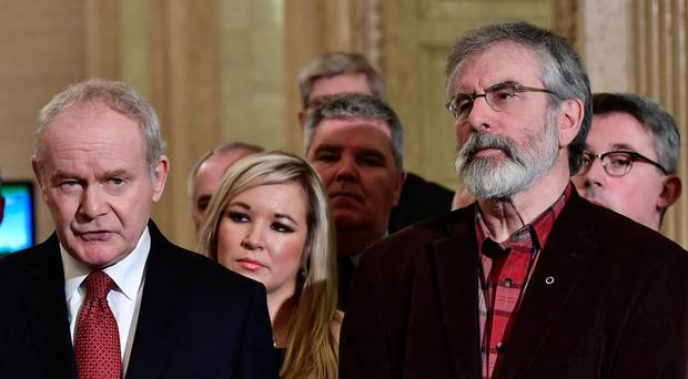 Martin McGuinness and Sinn Fein colleagues at Stormont for the special sitting over the Renewable Heating Incentive scandal.