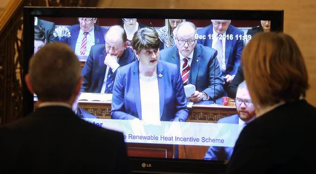 First Minister Arlene Foster in the Assembly Chamber