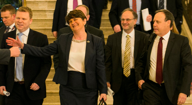 First Minister Arlene Foster arrives with party colleagues