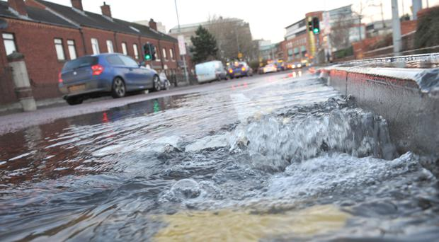 The water main that burst this afternoon at Cromac Street in Belfast city centre