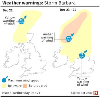A yellow warning for wind is in force for Friday from 9am until 9am on Christmas Eve, with low temperatures and heavy rain also expected