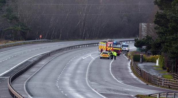 The scene of the fatal accident on the M1 Motorway yesterday