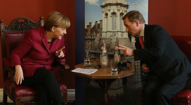German chancellor Angela Merkel with Enda Kenny during a visit to Dublin
