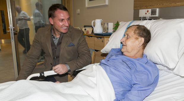 Brendan Rodgers with patient Hubert Cowan from Whitehead