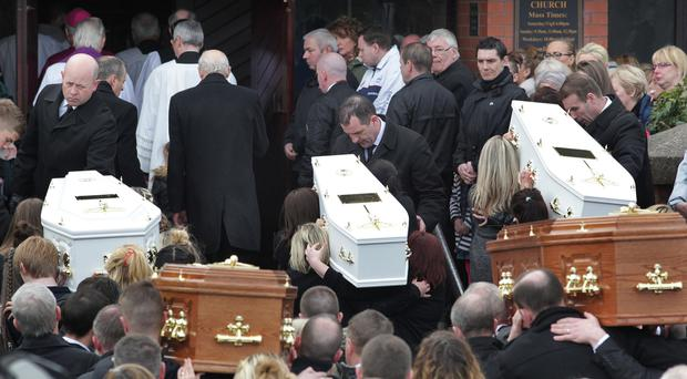 Sean McGrotty (48), his sons Mark (12), Evan (eight), sister-in-law Jodie-Lee (14) and mother-in-law Ruth Daniels all died after Mr McGrotty's car slid on algae into the waters of Lough Swilly after a family day out