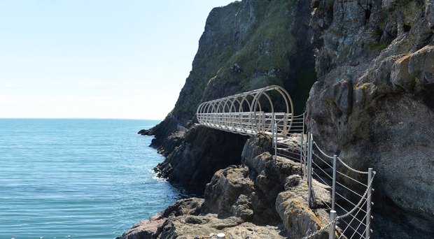 The spectacular Gobbins walkway in Co Antrim