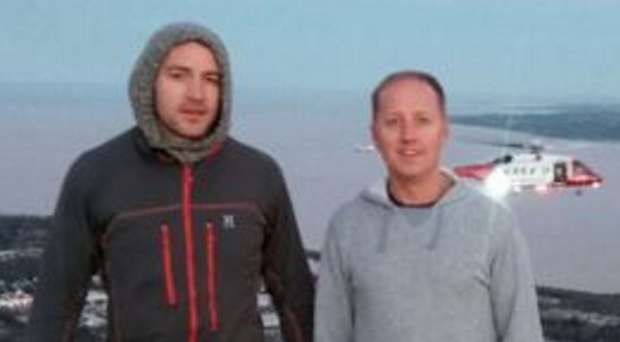 Joggers David McCrum and Richard Lamont (right) raised the alarm to help save a German student