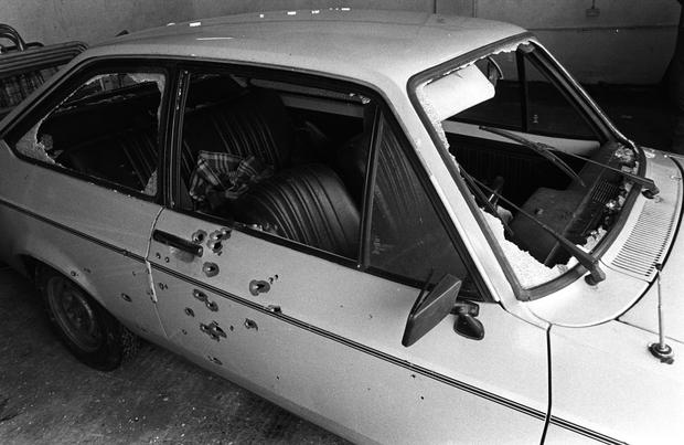 The bullet-riddled car in which Gervaise McKerr, Eugene Toman and Sean Burns were shot dead by the RUC in Lurgan in 1982