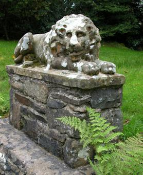 One of the two stolen stone lions