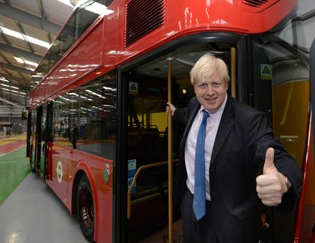 Former London Mayor Boris Johnston on his visit to the Wrightbus plant in Ballymena