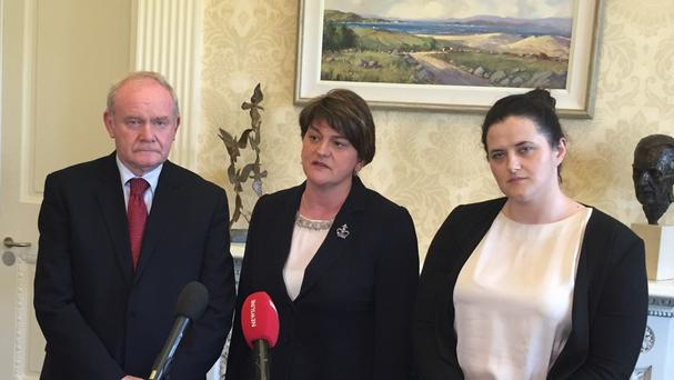 Claire Sugden (right) with Martin McGuinness and Arlene Foster