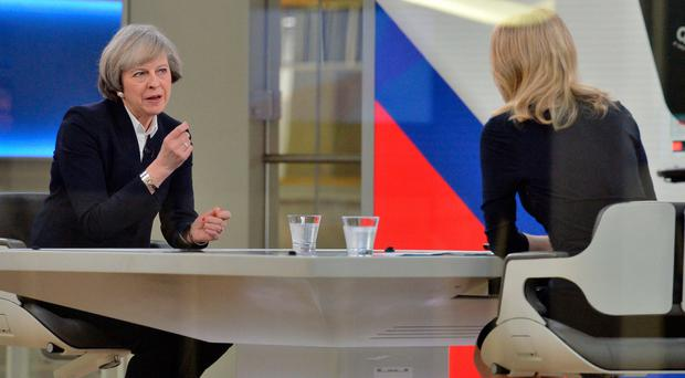 Prime Minister Theresa May (left) is interviewed by Sophy Ridge