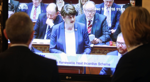 Arlene Foster addresses a virtually empty chamber after Stormont was recalled over the RHI scheme