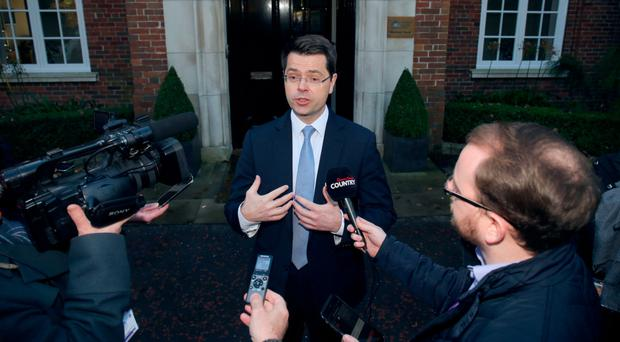 Secretary of State James Brokenshire speaks to the Press outside Stormont House yesterday