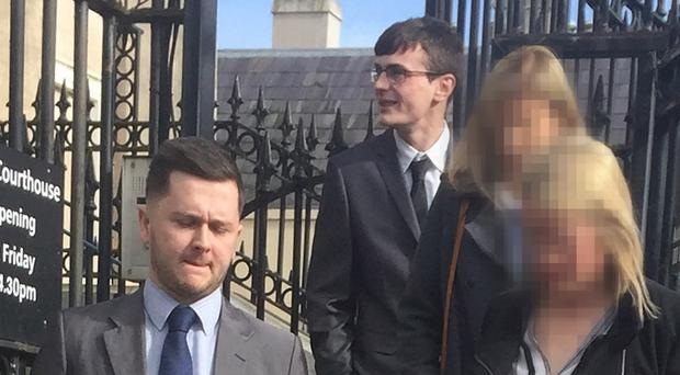 Daryl Kirton (left) and Che McManus (wearing glasses at the rear) who were jailed over the death of Patrick Wilkinson