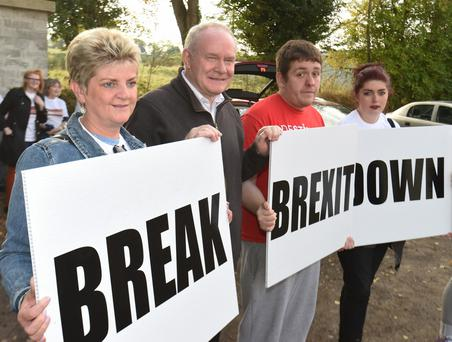 Martin McGuinness attending a protest against Brexit at the Derry/Donegal border on the Buncrana Road last year