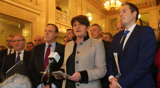 Democratic Unionist Party leader Arlene Foster speaking before an Assembly Plenary Session at Stormont in Belfast