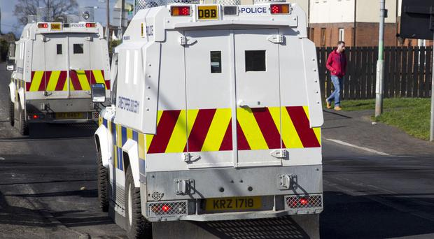 The PSNI cordoned off the road and called in the helicopter for searches during the bomb incident
