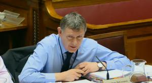 Dr Andrew McCormick gives evidence to the Public Accounts Committee in the assembly senate