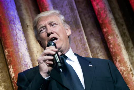 Donald Trump speaks at a black-tie event in Washington. (Photo by Kevin Dietsch-Pool/Getty Images)