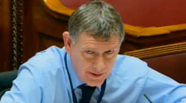 Dr Andrew McCormick giving evidence to the PAC at Stormont yesterday