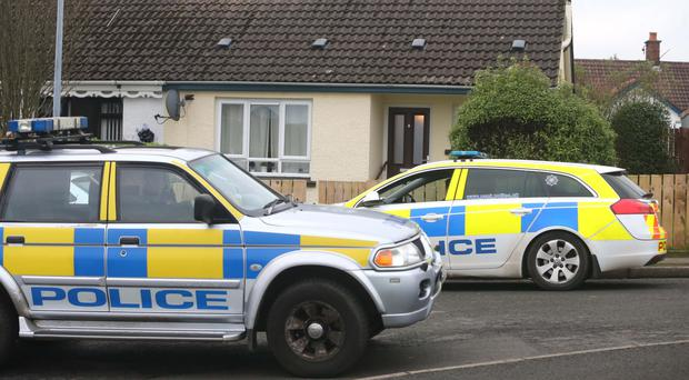 Police at the scene in Carnduff Park, Ballycastle, yesterday