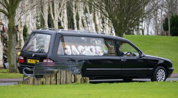The funeral of Jackie Maitland, partner of Shankill Butcher Sam McAllister, taking place at Roselawn yesterday