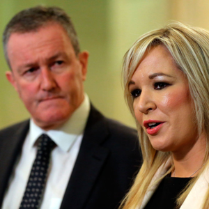 Sinn Fein's Conor Murphy and Michelle O'Neill at Stormont this week