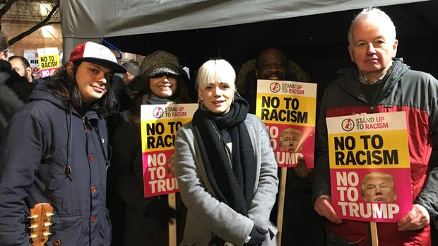 Lily Allen attending the demonstration against Donald Trump outside the US embassy in London (@AntiRacismDay/PA)