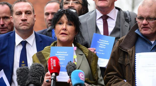 Margaret McGuckin speaks after the Historical Abuse Inquiry report was published yesterday
