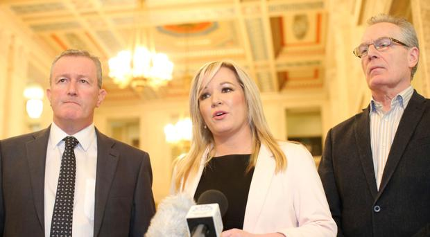 Michelle O'Neill leading the Sinn Fein delegation at Stormont recently