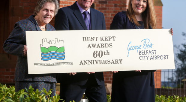 The 2017 Best Kept Awards - sponsored by George Best Belfast City Airport - are launched by Doreen Muskett, NI Amenity Council president; Joe Mahon, NI Amenity Council patron, and Michelle Hatfield, the airport's director of human resources and corporate responsibility
