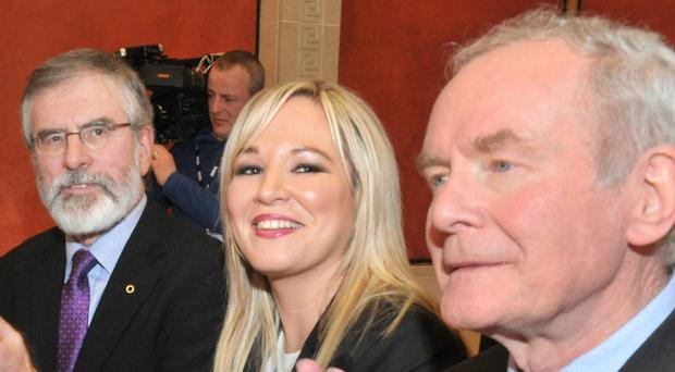 Michellle O'Neill with Gerry Adams and Martin McGuinness