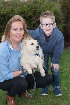 Nicola Irwin and her grandson Ryan with their beloved dog Sam