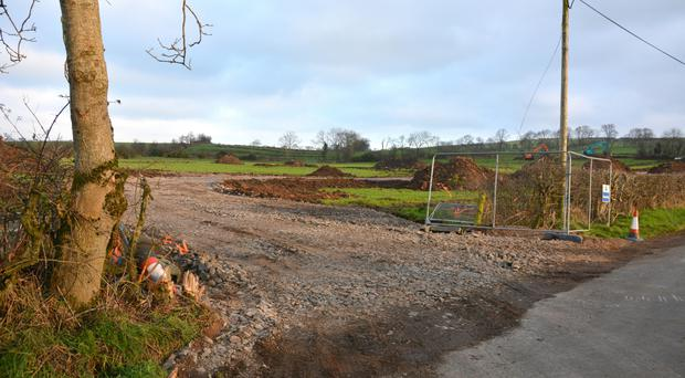 The entrance to the new pig farm site off the Rea Hill Road, Newtownabbey