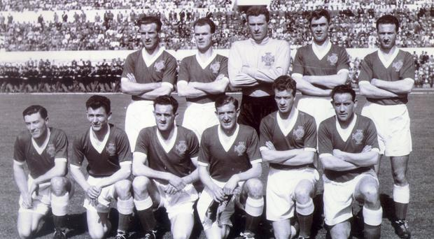 Billy Simpson (front row, far left) in the 1957 Northern Ireland team