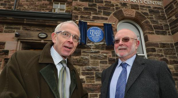 Helen Lewis's sons Robin and Michael at the unveiling of the Ulster History Circle blue plaque