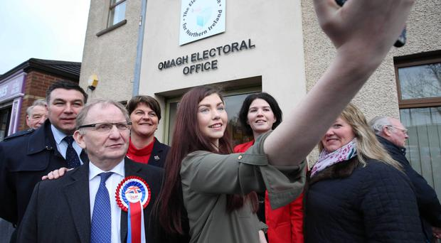 DUP leader Arlene Foster poses for a photograph outside Omagh Electoral Office as she began her election campaign yesterday