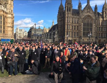 A Twitter image by Danny Kinahan MP of the protest at Westminster