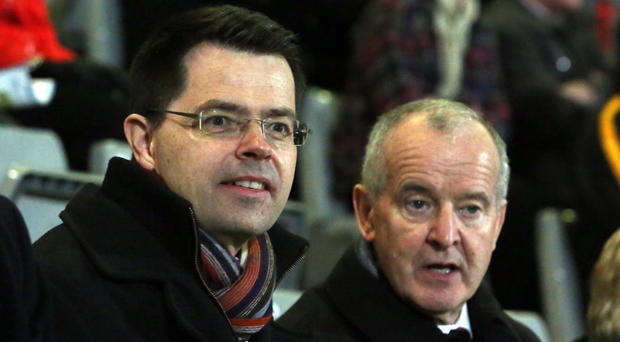 James Brokenshire, Secretary of State (left) with Michael Hasson, President of the Ulster Council of the GAA at the McKenna Cup final in Newry