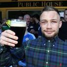 Carl Frampton at the Nine Fine Irishmen bar. Photo William Cherry/Presseye