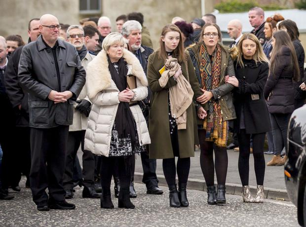 Friends and family at the funeral of Tiernan Green in Lurgan yesterday