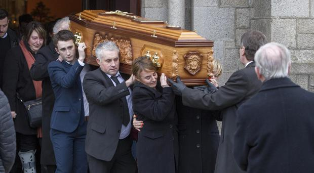 Friends and family carry the coffin of Anne Greene in Kilkeel yesterday