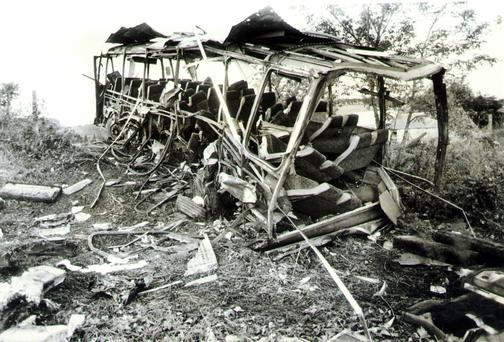 The aftermath of the 1988 Ballygawley bus bombing which claimed eight lives and injured many more