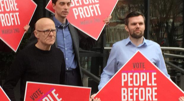 People Before Profit's candidates Eamonn McCann (left) and Gerry Carroll in Belfast to launch the party's election campaign