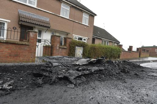 Norglen Drive in Belfast, where three cars were set on fire yesterday