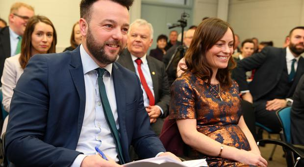 SDLP leader Colum Eastwood and Nichola Mallon launch the party's election campaign