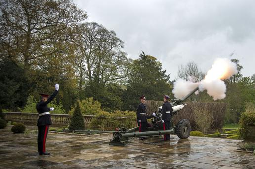 A 21-gun salute is fired by 206 (Ulster) Battery, Royal Artillery at Hillsborough Castle